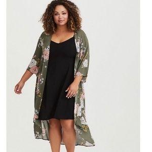 Torrid Brand New Olive Floral Long Kimono
